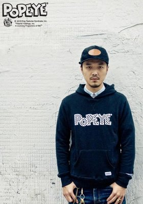 ㊣outlet 出清 免運費㊣ Provider 2014 F/W Popeye Hoody M號 黑色 連帽T恤