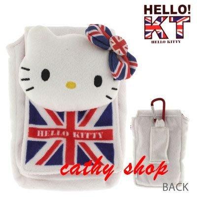 *凱西小舖*日本進口三麗歐正版KITTY凱蒂貓英國風掛勾收納/相機包