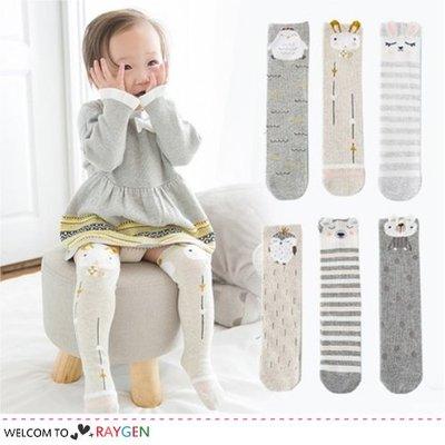 HH婦幼館 立體耳朵動物造型寶寶襪 過膝襪 中筒襪 3雙/組【1E014M777】