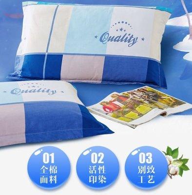 枕頭套一對裝 蘭花情棉質斜紋枕套枕芯套棉質枕頭套48*74枕套2只