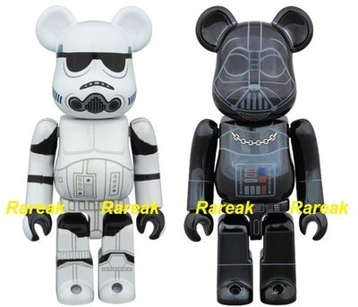 Medicom Bearbrick Star Wars 100% Chrome Darth Vader & Stormtrooper Be@rbrick 2p