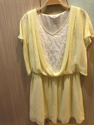 小花別針、專櫃品牌【bear two 】淡黃色假兩件連身裝連身裙