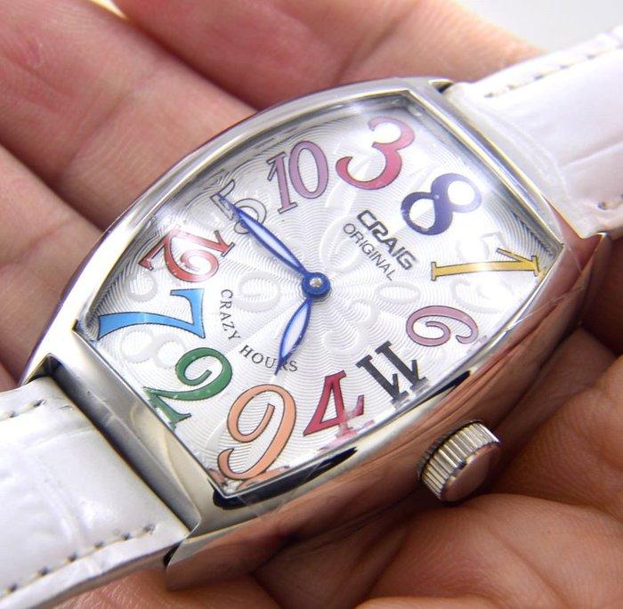 (六四三精品)CRAIG(真品)CRAZY HOURS亂跳彩色數字,自動上鍊機械錶!