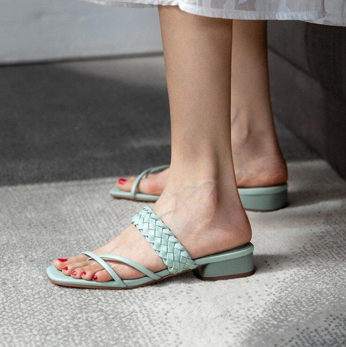 『Alice❤愛麗絲』韓版夏季編織夾趾涼拖鞋女粗跟高跟仙女風羅馬涼鞋