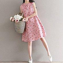 無袖棉麻洋裝 ◎ 女人心語 ◎ 中大尺碼 棉麻羽毛碎花旗袍式洋裝 連身裙 無袖洋裝 (預)CK-SK-H-N-BC