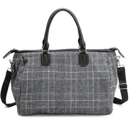 ☆歐拉雜貨屋☆韓版大容量復古格紋手提袋行李袋旅行包女包禮物