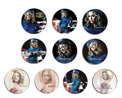 現貨 MADONNA Music , Don't Tell Me pinback BADGE SET 1a 襟章 徽章 (一套10個)
