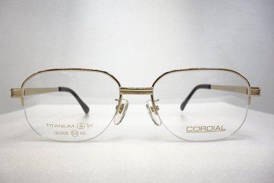 【台南中國眼鏡】CORDIAL 傳統 紳士框 純鈦 日本製 不過敏 不腐蝕 205