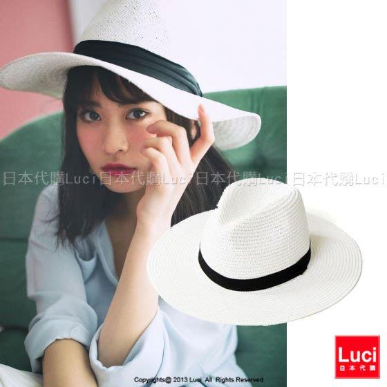 草帽  率性時尚中摺紳士帽 遮陽帽 蝴蝶結草帽  LUCI日本代購[lp026yb]