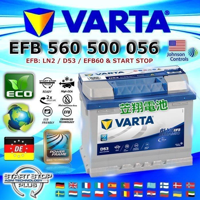 【鋐瑞電池】VARTA D53 EFB 60AH LN2 德國進口 華達 汽車電池 VITARA JUKE 原廠電瓶