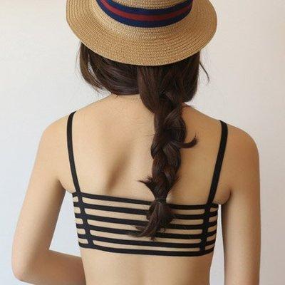 性感美背 歐美時尚六橫條背鏤空小可愛 罩杯 露背 半截 內搭 小可愛 肩帶背心