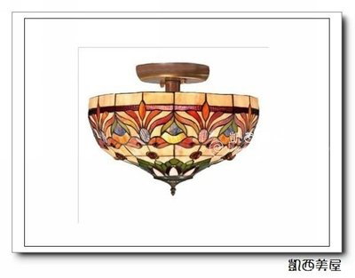 凱西美屋 12寸帝凡尼手工彩繪鑲嵌玻璃半吸頂燈 古典弟凡內金魚款 蒂凡尼鄉村吸頂燈