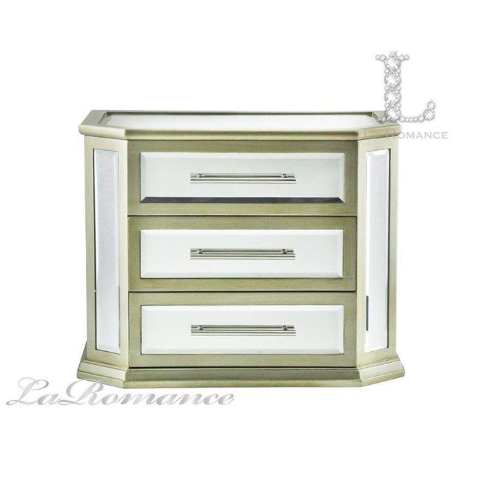 【芮洛蔓 La Romance】威尼斯系列香檳金鏡面三層珠寶盒 / 首飾盒 / 置物 / 收納