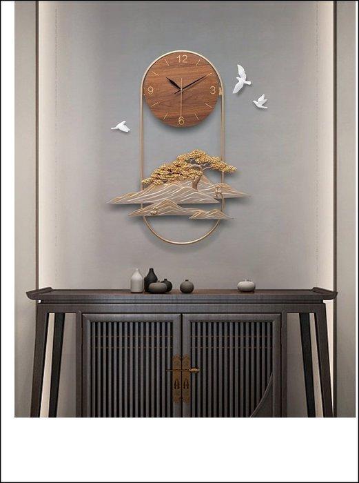 新中式 立體浮雕 雲樹之思 造型時鐘 禪風壁鐘 雲海大樹小鳥客廳餐廳藝術掛鐘壁鐘【歐舍傢居】