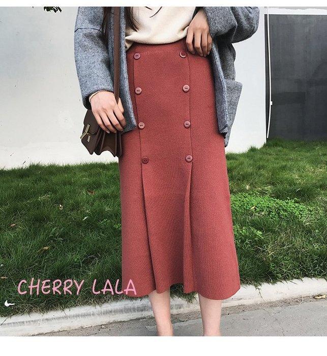 CHERRY LALA  韓。實拍高腰顯瘦排扣針織半身裙百搭中長款包臀裙  A10174  chic