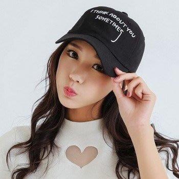 【PD帽饰】韓國新款GD潮流風 i think about something 棒球帽鴨舌帽彎沿老帽彎帽子 K614