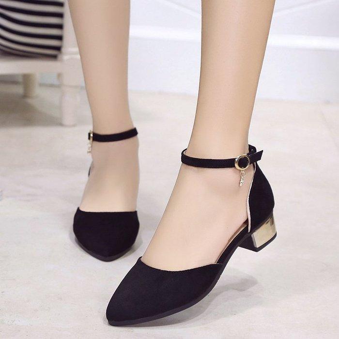 低跟涼鞋粗跟尖頭淺口絨面涼鞋女夏一字扣學生春季單鞋