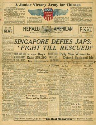 (徐宗懋圖文館) 二戰1942年2月1日 美國報紙《Herald American》原件