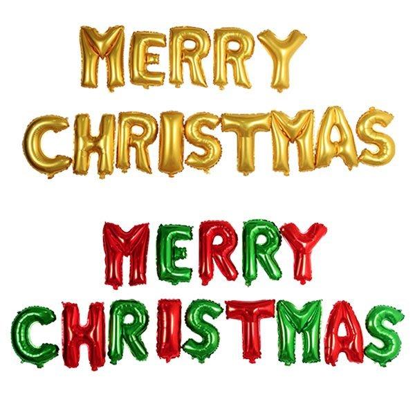 彩色Merry Christmas紅綠字母聖誕節氣球裝飾 佈置裝飾【XM0210】《Jami Honey》