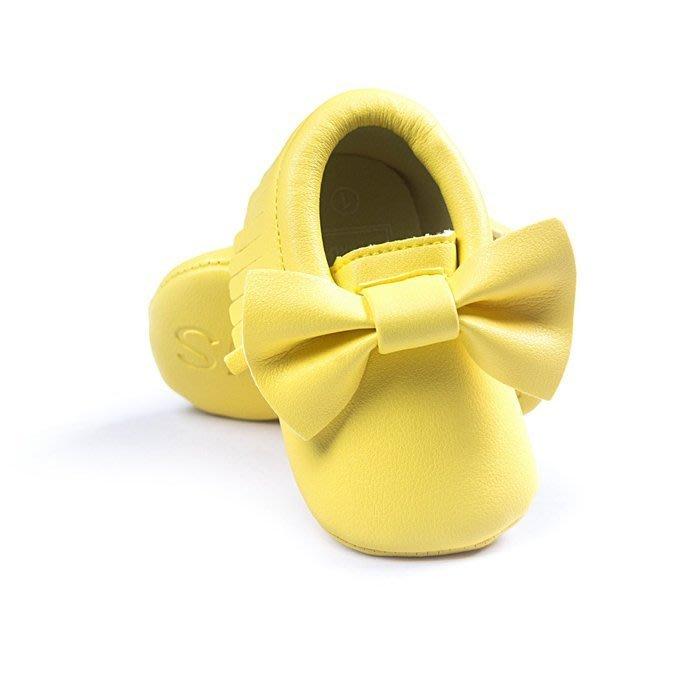 寶貝倉庫~歐美款~可愛黃蝴蝶結流蘇軟底鞋~學步鞋~不掉鞋~寶寶鞋~幼兒鞋~學走鞋~鬆緊帶設計~坐學步車穿~彌月送禮