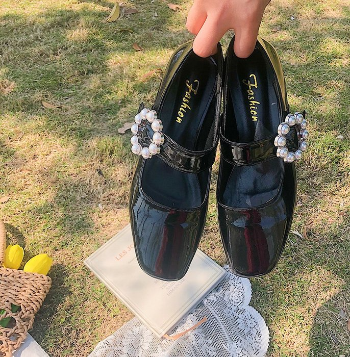 SeyeS  復古英倫歐美時尚華麗珍珠花扣娃娃鞋