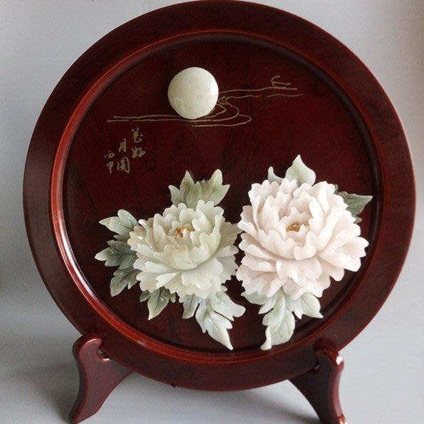 客廳中式古典玉畫掛畫四條屏玉雕畫裝飾畫 圓形擺臺 花好月圓 放舊品  玉畫31