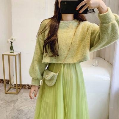 禾可可有賣場~2021新款正韓毛衣二件套連身裙女秋冬仙氣甜美中長款網紗打底裙