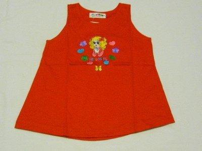 台製 女小童 HELLO GIRL 紅色 背心洋裝.長版背心.長版上衣~~4號~~適100cm左右穿~~歡迎切貨