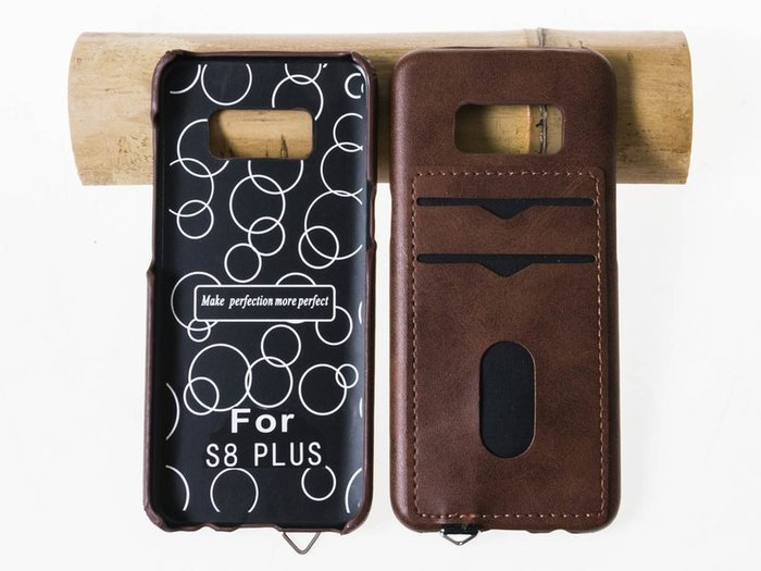 三星手機*Samsung Galaxy S8 Plus  瘋馬紋插卡保護殼  深棕 ZA-43365