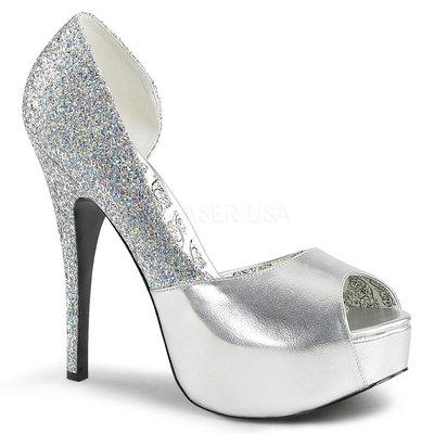 Shoes InStyle《五吋》美國品牌 PINK LABEL 原廠正品金蔥高跟魚口鞋有大尺碼 11-16 碼『銀色』