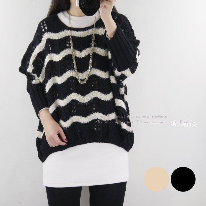 正韓 韓國連線 洞花勾織曲線波紋 窄管袖胸袖相連毛衣 ~桔子瑪琪朵