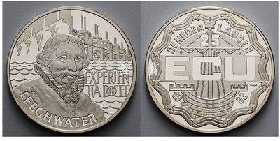 【鑒 寶】(世界各國紀念幣)珍稀幣荷蘭1993年水利工程師揚·萊赫瓦特精製銀幣 HNC0403