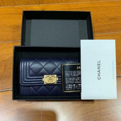 售出)二手 Chanel boy 零錢包 卡包 卡夾 深藍色仿舊金釦 荔枝皮 香奈兒