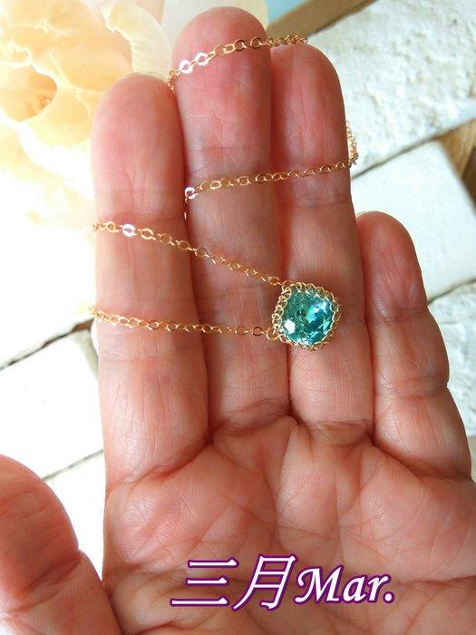 三月誕生石 海藍寶石K金項鍊˙Jill&Joe施華洛世奇元素.氣質百搭˙獨家手作網編設計