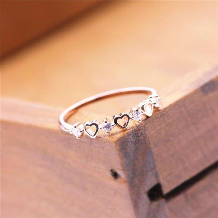 日韓戒指女小指尾戒鍍18K玫瑰金食指環心形愛心心心相印?戒