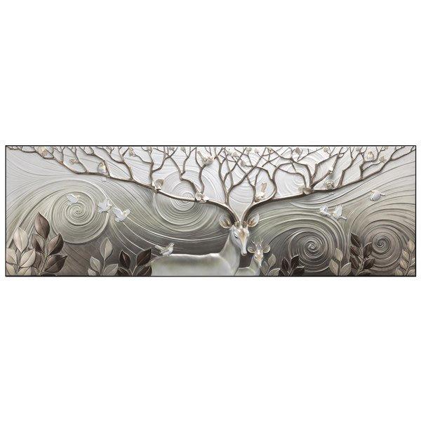 5Cgo【茗道】 沙發背景牆畫現代簡約臥室輕奢掛畫牆壁畫3D立體浮雕畫寓意福祿雙全浮雕畫精緻簡約547679936197
