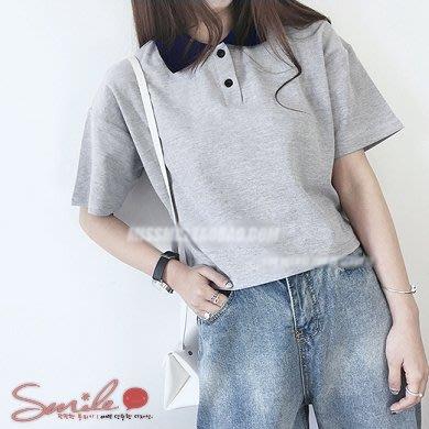 【V0882】SMILE-悠閒自然.拼接翻領寬鬆短版短袖POLO衫