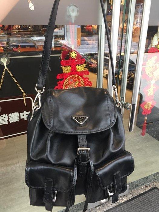 典精品 Prada 真品 黑色 經典 三角LOGO 雙口袋 束口 肩背包  全皮款 現貨