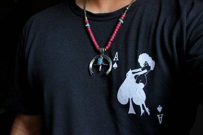 【monolith】生來狂野二店 天然kingman綠松打印印地安月牙  職人手作 Navajo Yves布繩組