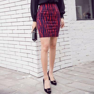 半身裙 連身裙 春夏印花包臀裙氣質百搭緊身彈力印花大碼開叉半身裙中裙女