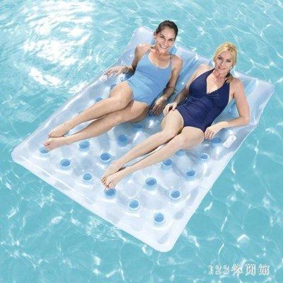 游泳浮床 雙人水上浮床加厚充氣浮排氣墊床水上椅子沙發漂流游泳度假休閒LB16274【全館免運】