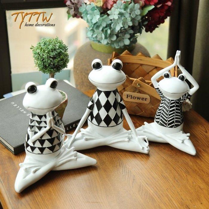 小花精品店-北歐瑜伽青蛙辦公室家居軟裝飾品擺設酒柜電視柜創意禮物小擺件