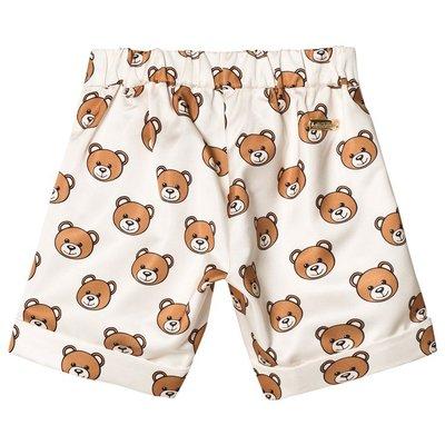 Moschino Kid-Teen Cream All Over Bear Satin Shorts 10 12y