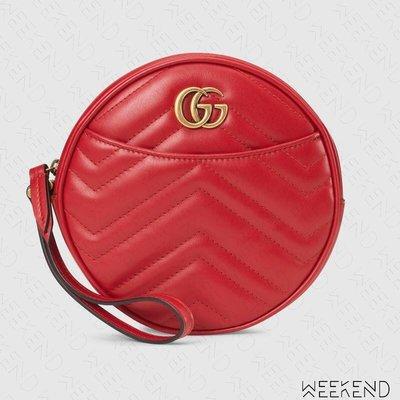 【WEEKEND】 GUCCI GG Marmont 圓形 皮夾 短夾 零錢包 手拿包 紅色 575164 19秋冬