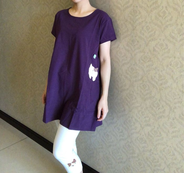 日本卡拉貓~GonPon醬雙口袋長版上衣 薄布款L