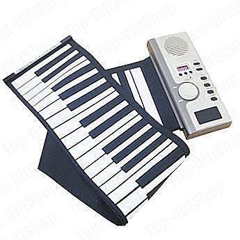 送充電器 可折疊矽膠電子琴 軟鍵盤手卷鋼琴專業版 61鍵 內置音色 節奏 節奏 示範曲