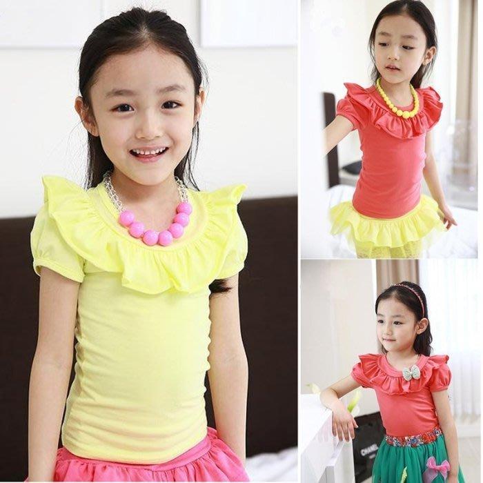 韓版《淑女荷葉邊》可愛短袖上衣 (J5-2)