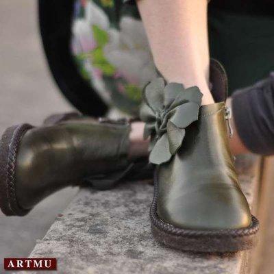 *姑涼家*款民族手工花朵做舊牛皮短靴超...