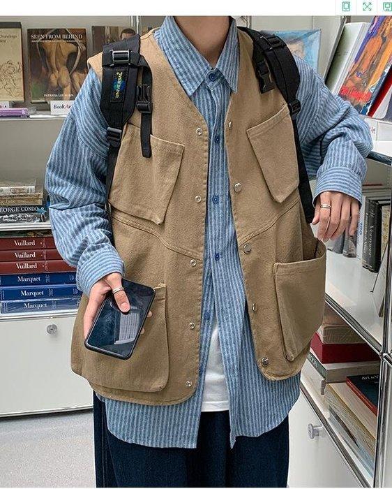 FINDSENSE X  男士 長袖  休閒 日系復古工裝馬甲男女外套