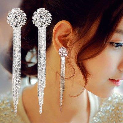 新娘耳環水鑽長款螺絲耳針 無耳洞防過敏925銀針 水滴耳墜耳針耳飾品韓國結婚飾品104